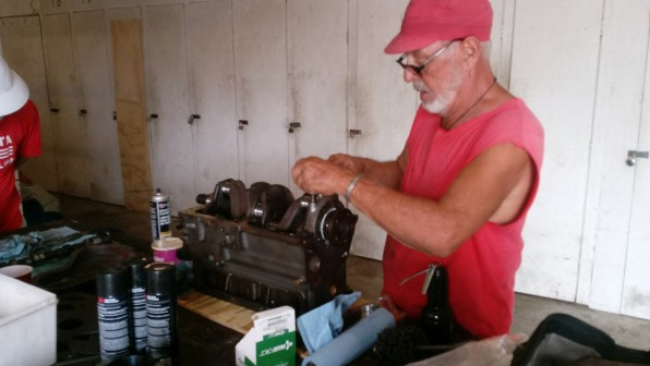 Diesel Don! Here he's rebuilding another Perkins 4.108 diesel for another boat owner at Boot Key Harbor. The man is a living legend.